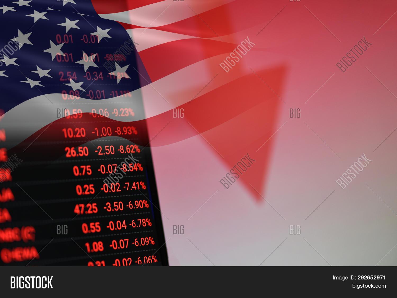 Usa. America Stock Market Crisis Red Price Arrow Down Chart Fall / New York Stock Exchange Analysis