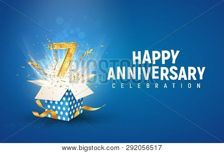 7 th years anniversary banner with open burst gift box. Template seventh birthday celebration and abstract text on blue background vector illustration stock photo