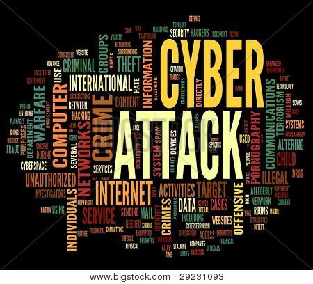 Cyber attack concept in word tag cloud isolated on black background stock photo