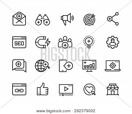 Inbound Marketing Line Icons. Lead Social Media, Action Marketing Influence And Target Audience Attr