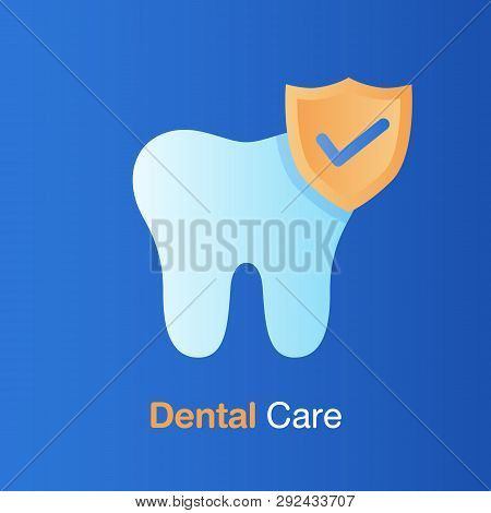 Dental care concept. Good hygiene tooth, prevention, check up and dental treatment. Vector illustration. stock photo