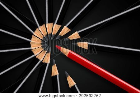 Business Concept Of Disruption, Leadership Or Think Different; Red Pencil Breakign Apart Circle Of B