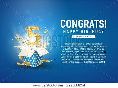 5 th year anniversary banner with open burst gift box. Template fifth birthday celebration and abstract text on blue background vector illustration stock photo