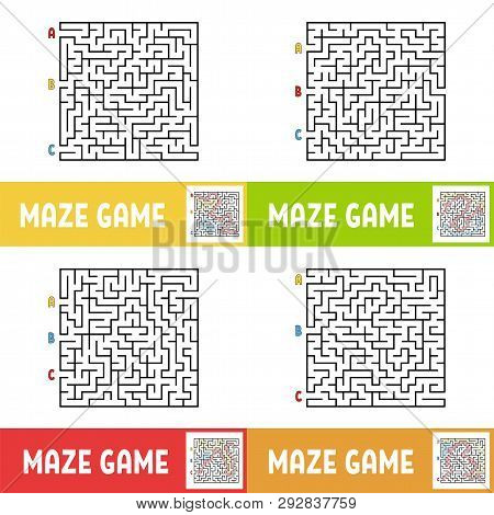 A Set Of Mazes. Game For Kids. Puzzle For Children. Maze Conundrum. Cartoon Style. Visual Worksheets