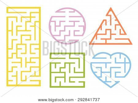 A Set Of Mazes. Cartoon Style. Visual Worksheets. Activity Page. Game For Kids. Puzzle For Children.
