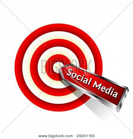 Social Media Concept. Red dart hitting a target. Vector sign. stock photo