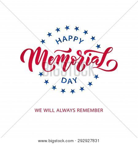 Memorial Day. Remember and honor. Vector illustration Hand drawn text lettering with stars for Memorial Day in USA. stock photo