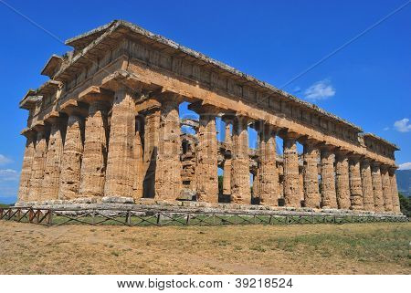 Paestum is the classical Roman name of a major Graeco-Roman city in the Campania region of Italy. It is located in the north of Cilento, stock photo