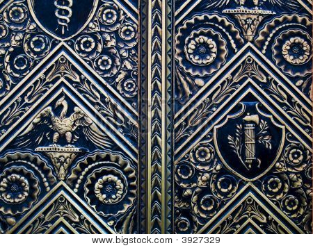 Picture of Balt doors with relief carvings in metal. stock photo