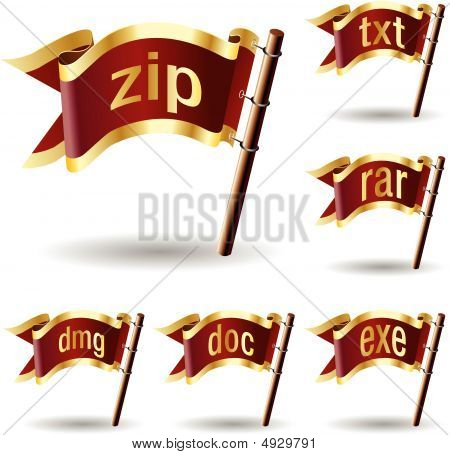 Archive or compression file type extension icons on royal vector flag button stock photo