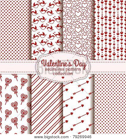 Happy Valentine's Day! Set of love and romantic backgrounds. Collection of seamless patterns with white and red colors. Vector illustration. stock photo