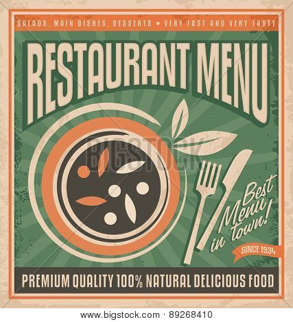 Retro restaurant menu poster design