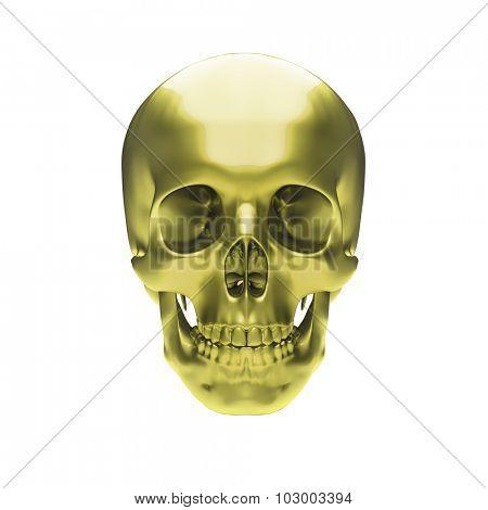Gold metallic skull on white background stock photo