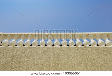 Vintage style railing on the roof. View from below. stock photo