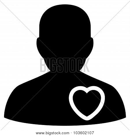Patient Heart vector icon. Style is flat symbol, black color, rounded angles, white background. stock photo
