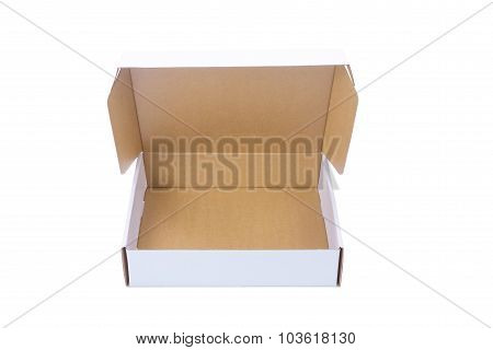 Opened white cardboard Box or paper box with brown color inside isolated on White background stock photo