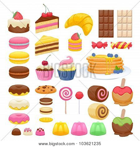 Set of sweet food icons.