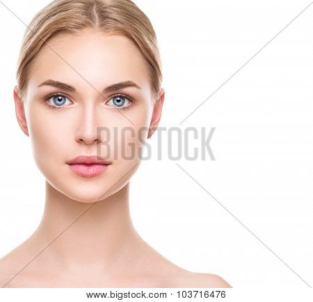 Beauty Woman face Portrait. Beautiful Spa Girl looking at camera and smiling. Blonde model female wi