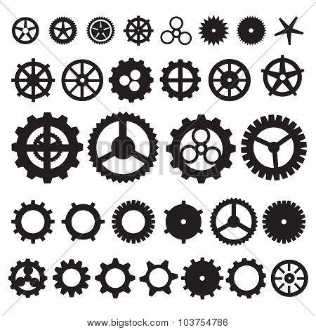 Steampunk collection machine gear. wheel cogwheel vector, set of gear wheels, collection of vector g