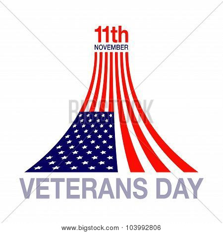 Veterans day flag design logo emblem on white background.