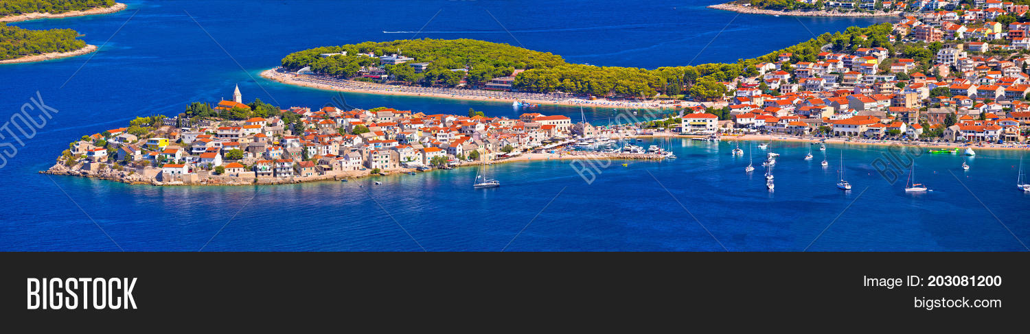 Adriatic tourist destination of Primosten aerial panoramic archipelago view Dalmatia Croatia