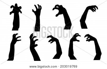 Set of vector silhouettes of scary hands suitable for Halloween isolated on white background