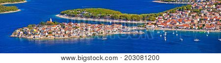 Adriatic tourist destination of Primosten aerial panoramic archipelago view Dalmatia Croatia stock photo