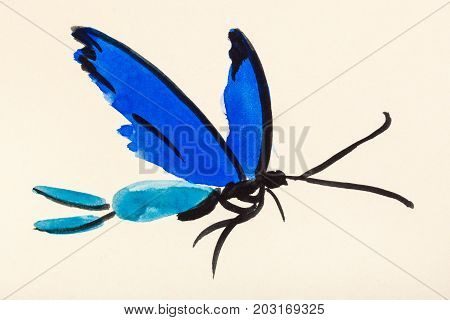 training drawing in suibokuga sumi-e style with watercolor paints - flying butterfly with blue wings hand painted on cream colored paper stock photo