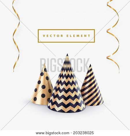 Party hat or abstract Christmas tree and streamers vector template for Christmas party banner or happy birthday greeting card. Holiday background stock photo