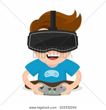 Cheerful happy boy young man hold joystick plays video game in vr glasses.Vector flat modern style illustration character icon design. Isolated on white background.  Virtual reality gamer vr concept stock photo