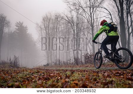 Mountain biker on trail in woods. Bike rider in winter or autumn landscape forest. Man cycling MTB on rural country road. Sport fitness motivation and inspiration.