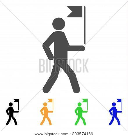 Guide Man With Flag icon. Vector illustration style is a flat iconic guide man with flag symbol with black, gray, green, blue, yellow color variants. Designed for web and software interfaces. stock photo