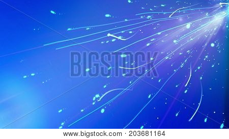 Impressive 3d illustration of an abstract advanced cyberspace with rushing dots spots blemishes leaving long and curvy tails shot askew in the light blue cyberspace background stock photo