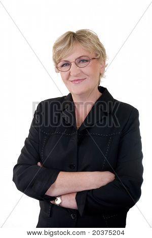 senior confident business woman in 50s, vertical portrait stock photo