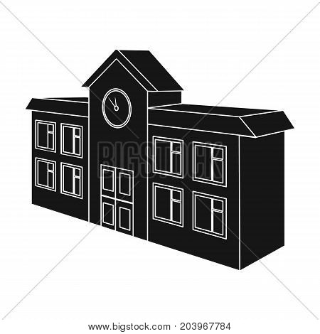 Architectural building of school, college. College single icon in black style vector symbol stock illustration . stock photo