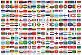 216 Official banners of the world in sequential request, with authority Country and Capital name, ve