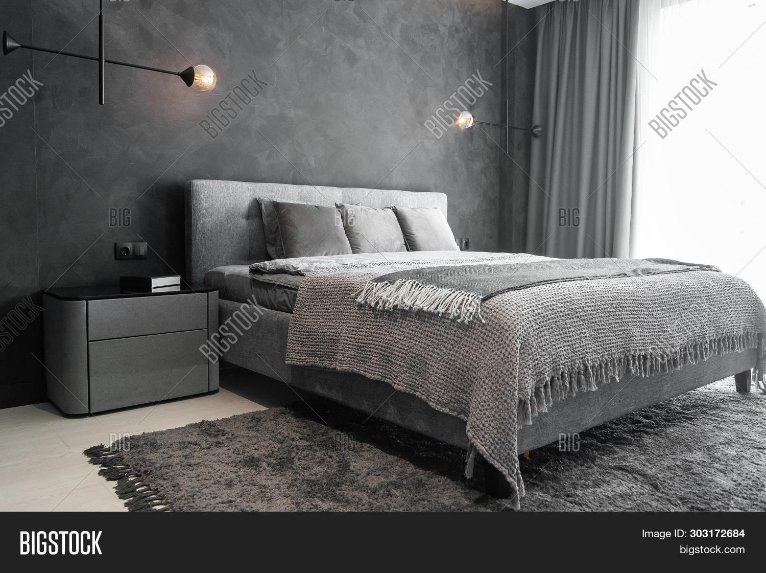 apartment,bachelor,bed,bedroom,bedsheets,black,blanket,bright,carpet,concrete,contemporary,contrast,cozy,decor,design,designer,enjoy,flat,floor,furniture,great,grey,home,indoor,inspiration,interior,king,lamp,loft,lonely,master,metal,modern,monochromatic,pillow,room,scandinavian,simple,single,space,spacious,style,stylish,texture,trends,wall,white