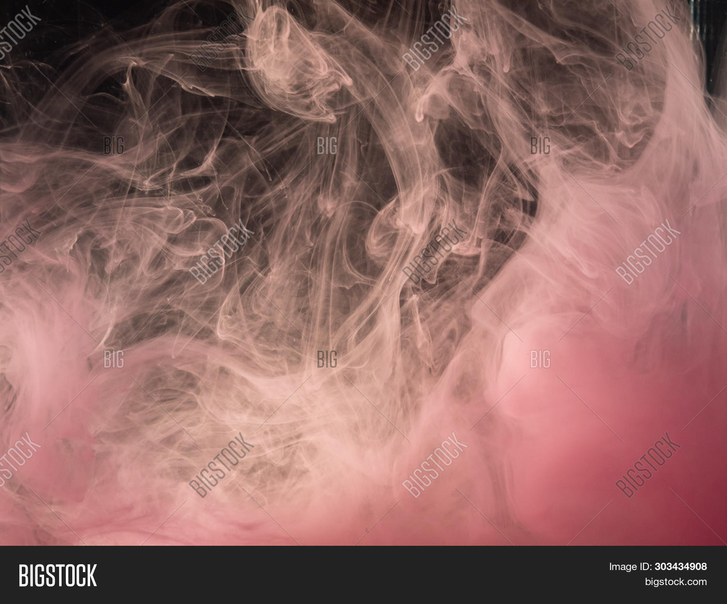 Pink Acrylic Paint Dissolving Into Water, Abstract Pattern. Close Up View. Blurred Abstract Backgrou