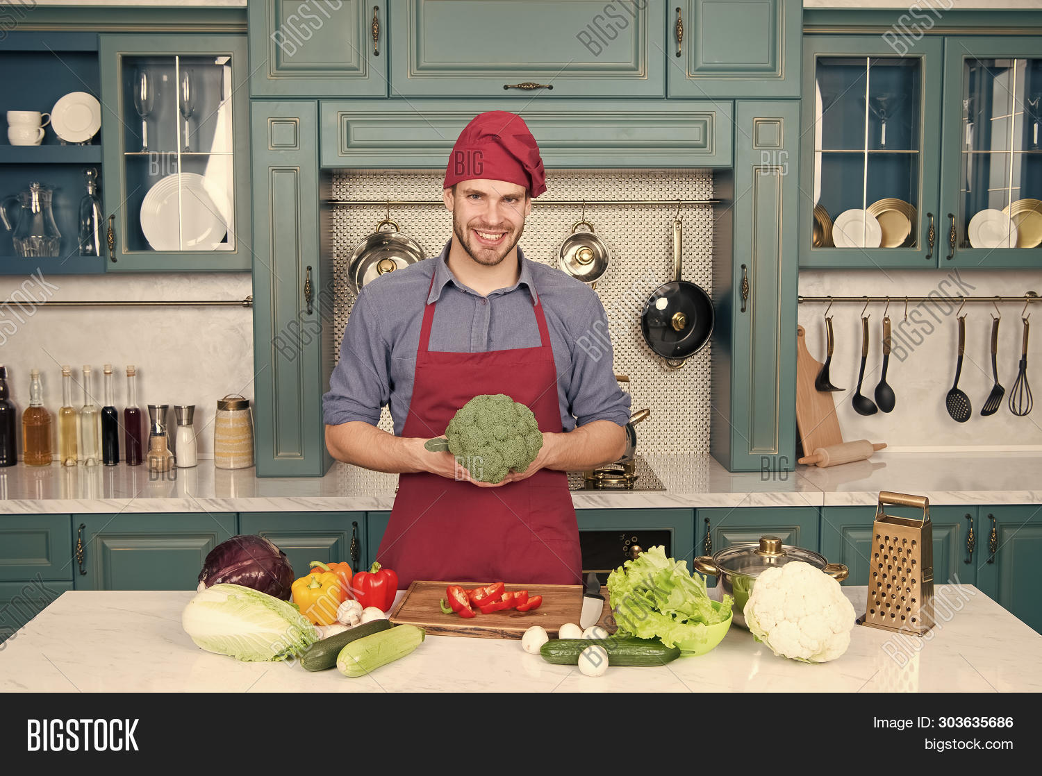 apron,beard,bearded,broccoli,cabbage,cauliflower,chef,concept,cook,cooking,cucumber,cuisine,culinary,delicious,diet,dieting,dish,domestic,food,fresh,gastronomical,guy,handsome,harvest,health,healthy,ingredient,kitchen,man,meal,mushrooms,mustache,pepper,recipe,restaurant,rich,salad,table,taste,tools,unshaven,utensils,vegetable,vegetarian,vitamin,wear,zucchini