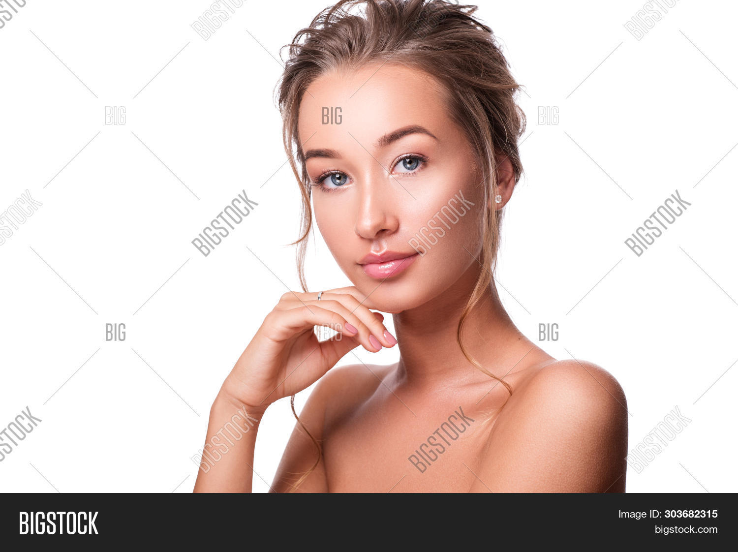 Beauty Woman Face Portrait. Beautiful Spa Model Girl With Perfect Fresh Clean Skin. Female Looking A