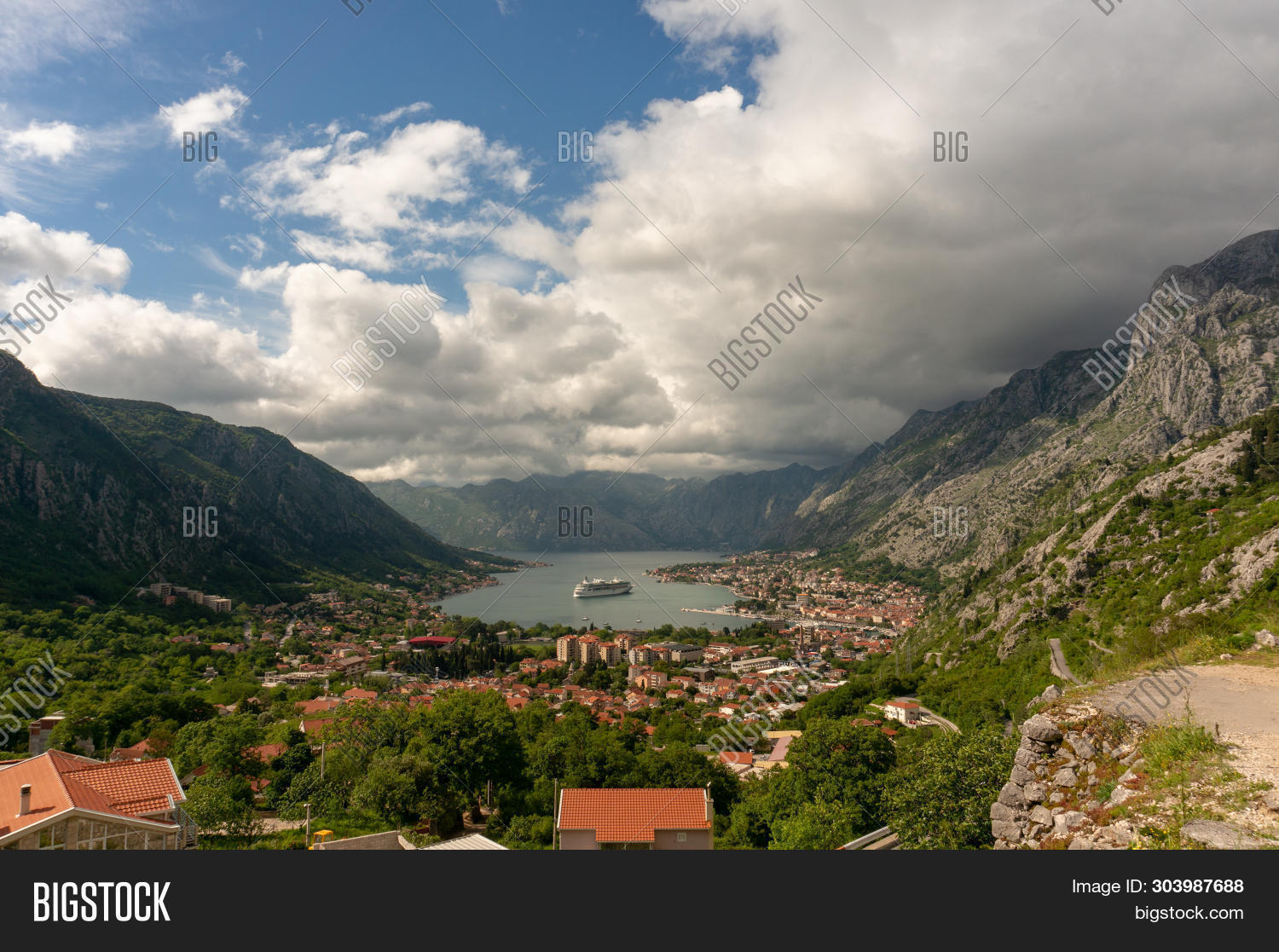 Bay Of Kotor From The Heights. View From Mount Lovcen To The Bay. View Down From The Observation Pla