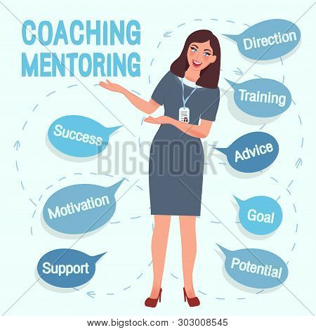 Coach, the girl offers training and education. A successful teacher and mentor in a free pose guarantees success and achievement of the goal. Vector illustration of people in business stock photo