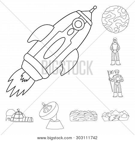 Vector design of space  and galaxy  symbol. Collection of space  and travels  stock vector illustration. stock photo