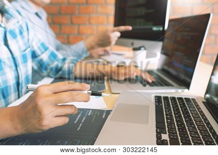 Collaborative Work Software Engineers Website Developer Technologies Or Programmer Working Coding On
