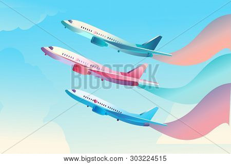 Concept poster of air show, flying flying sky across the sky, multi-colored smoke, for demonstrating the strength and professionalism of pilots, template for advertising stock photo