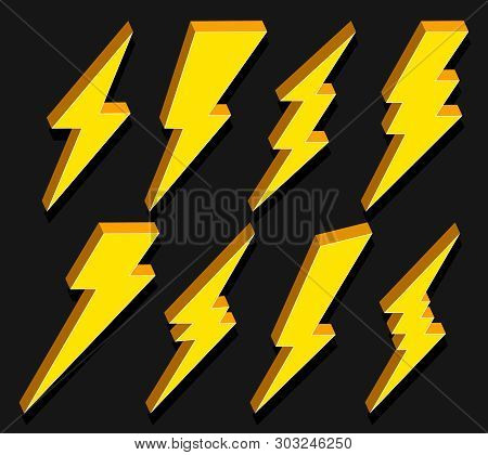 Creative illustration of thunder and bolt lighting flash icon set isolated on background. Art design electric thunderbolt. Abstract concept graphic dangerous symbol icon element. stock photo