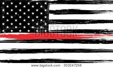 Grunge USA flag with a thin red line - a sign to honor and respect american firefighters. stock photo