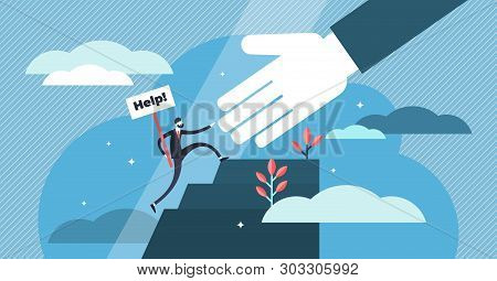 Help vector illustration. Flat tiny emergency assistance person concept. Rescue solution in danger and problematic situation. Social solidarity and voluntary aid service. Abstract giving hand teamwork stock photo