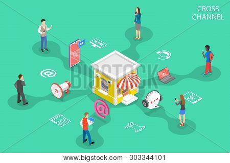 Isometric flat vector concept of cross channel, omnichannel. stock photo