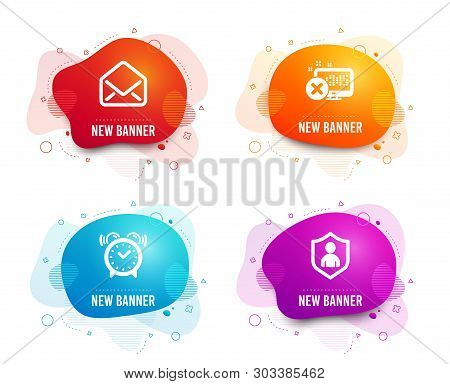 Liquid badges. Set of Alarm clock, Reject access and Mail icons. Security sign. Time, Delete device, E-mail. Private protection.  Gradient alarm clock icon. Flyer fluid design. Abstract shapes. Vector stock photo
